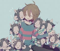Frisk and Temmies from Undertale