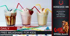 Free Milkshake for Kids Special @ The Crazy Horse Steak Ranch - Horseshoe Inn Restaurant Specials, Kids Up, Crazy Horse, Main Meals, Milkshake, Portal, Steak, Campaign