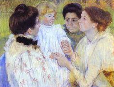 Women Admiring a Child - Mary Cassatt Completion Date: 1897 Style: Impressionism Genre: portrait Technique: pastel Material: paper Gallery: Detroit Institute of Arts, Detroit, MI, USA