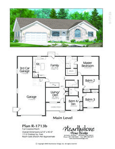 Traditional Rambler Home Plan Ranch House Plans, Dream House Plans, Modern House Plans, Small House Plans, House Floor Plans, My Dream Home, Br House, Sims House, Building Plans