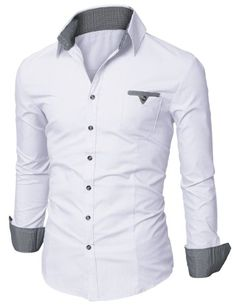 Amazon.com: Doublju Mens Dress Shirt with Contrast Neck Band: Clothing