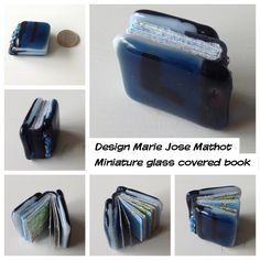 Miniature book with atlas pages, handtorn, handbinding, leather spine and bulls eye glass cover.