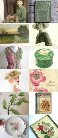 Go Pink ...Go Green... by vintagelinens on Etsy--Pinned with TreasuryPin.com