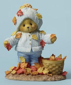 Loving this Bear Playing in Leaves Figurine on #zulily! #zulilyfinds