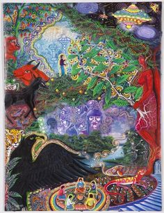 #PabloAmaringo  I always love Pablo's little UFOs in some of his paintings. Oh how I wish i could have done a ceremony with him when he was still on this plane. I guess I'll just have to meet him on the other side.