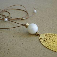 Κερωμένο κορδόνι - Πέρλες - Χρυσή επιμετάλλωση - Ρυθμιζόμενο μήκος