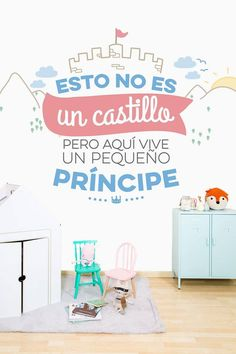 """Mural """"This is not a castle but here lives a little prince"""" … - Bedrooms For Girls Baby Room Decals, Nursery Room Decor, Bebe Baby, Baby Boy, Live A Little, Mr Wonderful, Kids Room, Sweet Home, Baby Shower"""