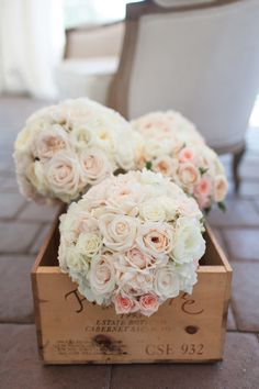Glammed up bouquet wrap and bouquets for bridesmaids in gorgeous crate Blush Pink Wedding Flowers, Pale Pink Weddings, White Roses Wedding, Bridal Bouquet Pink, Rose Wedding Bouquet, Boquet, Blush Roses, Blush Bouquet, Bouquet Wrap