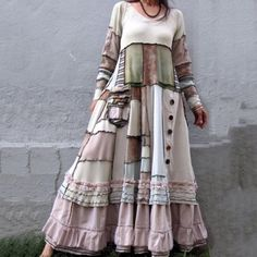 2019 New Women Dresses Autumn Winter Vintage Patchwork Casual Long Sleeve Retro Cotton Maxi Robe Big Plus Size Loose Dress - Kleidung Ropa Shabby Chic, Shabby Chic Mode, Summer Dresses For Women, Fall Dresses, Casual Dresses, Elegant Dresses, Sexy Dresses, Sleeve Dresses, Fashion Dresses