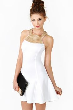 Nasty Gal-Soft Armor Dress White & gold usually aren't my colors, but this is Egyptian goddess amazing...