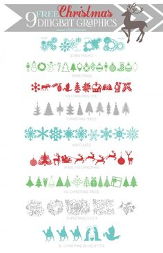 9 cute FREE Christmas dingbat graphics via lollyjane.com