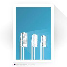 "Cleveland Indians 14"" x 20"" Progressive Field Toothbrush Lights Minimalist Art Giclee Print - $99.99"