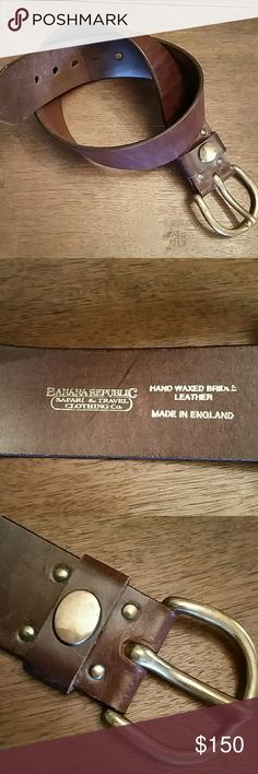 Rare Vintage Banana Republic Belt This was when BR went by the Safari & Travel Clothing Co name. The quality is 'top notch' and the brass is patina. Hand waxed bridle leather made in England. Size 28, notches fit 27, 28, 29, 30 and 31 respectively. This would be worn on true waist, and it looks so lovely over a long sweater. This is a very outstanding piece. It pulls an outfit together; no, I take that back. It makes the outfit! Some imperfections but never worn. Banana Republic Accessories…