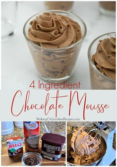 Easy Chocolate Mousse Recipe made with only 4 ingredients is delicious, light and fluffy. This will become your favorite dessert to serve!  #chocolate #mousse #dessert #recipe #4ingredients