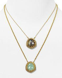 "Alexis Bittar Siyabona Gold Peruvian Chalcedony & Labradorite Two Pendant Necklace, 16"" | Bloomingdale's"