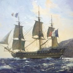"""""""Le Bucentaure,"""" by Geoff Hunt. This ship was Vice-Admiral Villeneuve's flagship at the Battle of Trafalgar. Bateau Pirate, Ship Paintings, Modern Paintings, Ship Of The Line, Man Of War, Naval History, Wooden Ship, Nautical Art, Historical Art"""