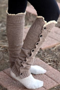 SALE Knitted Legwarmers  Boho knee high boot socks by LoveBeeShop, $26.00