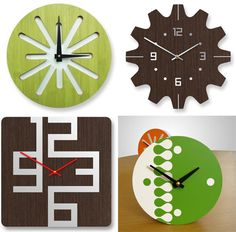 Wooden clocks made by a graphic designer, reminds me of John's clocks he made in college