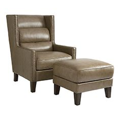 Alaine Leather Chair And Ottoman HGTV HOME Furniture HGTVfurniture