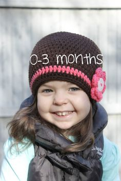 Infant 0-3 months Crochet Hat Toddler Hat by ZawiHatsAndMore