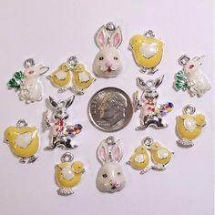 12 EASTER Enamel Holiday Charms,Jewelry Crafts Scrapbooking #124