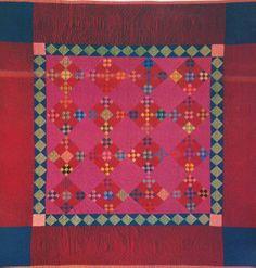 Double Nine-Patch, Amish. Lancaster Co, Pennsylvania. Amish Quilt Patterns, Amish Quilts, Star Quilts, Scrappy Quilts, Antique Quilts, Vintage Quilts, Lancaster, Bright Quilts, Nine Patch Quilt