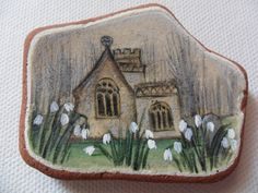 Misty snowdrop church - Acrylic miniature painting on Scottish sea pottery by ShePaintsSeaglass on Etsy