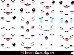 Kawaii Faces  SET 1 -Digital Clip Art Graphics Personal/ Commercial Use(022)