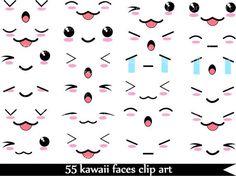Kawaii Faces  SET 1 -Digital Clip Art Graphics Personal/ Commercial Use(022)