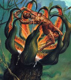 The man eating plant of Madagascar- Madagascan cryptid: an eight feet tall plant that is capable of eating dogs, pigs, lemurs, and humans. It was described in great detail by a researcher that allegedly went there to document the plant and the natives that knew it. He reported that the natives gave monthly sacrifices to it. Although there is thought that one might actually exist, the researchers name has no back story, and the people he claimed to have documented do not exist.