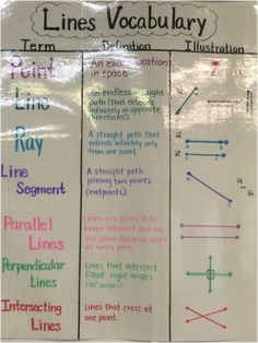 lines rays and angles anchor chart