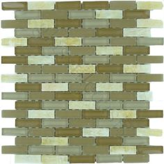 Moso Mosaics  Crystile Blends, Uniform Brick, Sandwood, Glossy & Frosted, Cream/Beige, Glass and Stone