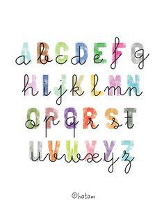 8 x 10 Alphabet Letters Cursive Font Print