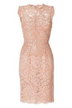 Valentino beaded lace dress. Peach lace, round neckline, sleeveless, peek-a-boo lace yolk, scalloped trim, hidden back zip