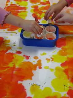Eyedropper Painting for Pincer Grasp Practice!   I think this would work great on coffee filters.  Also would cool to cut out squares of white cloth bound with masking tape on the edges so the paintings are easy to hang or frame.  Better yet, what about RIT dye and T-shirts (put cardboard between front and back)??  - Repinned (and expanded on) by @PediaStaff – Please Visit http://ht.ly/63sNt for all our pediatric therapy pins