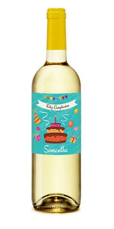Feliz Cumple Party Vino Blanco Personalizado #Cumpleaños #Regalo