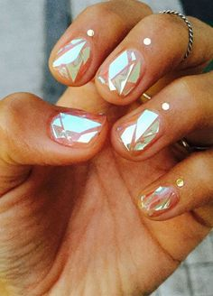 Shattered-Glass Nails Look As Cool As They Sound #refinery29 http://www.refinery29.com/shattered-glass-nail-trends#slide-1 The very first incarnation of glass nails. Watch this video to see the light-catching effect in action. It's mesmerizing. ...
