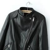 Black Stand Collar Oblique Zipper Crop Jacket - Crystalline