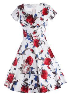 Retro Sweetheart Neck Short Sleeve Pin Up Dress For Women