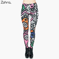 Zohra Fashion High Elasticity Legging Tribe Totem 3D Printing Women legins Stretchy Trousers Slim Fit Pants Leggings