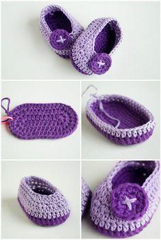 free crochet baby butterfly shoes pattern