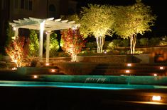 breathtaking Landscape Lighting Pool Traditional design ideas with fountain garden lighting hillside outdoor lighting pergola planters retaining wall slope stairs