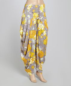 Love this Yellow & Gray Flower Harem Pants - Women by Yo Baby on #zulily! #zulilyfinds