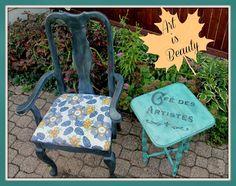 ART IS BEAUTY: Random side table and Chair Makeover. http://arttisbeauty.blogspot.com/2013/10/random-side-table-and-chair-makeover.html