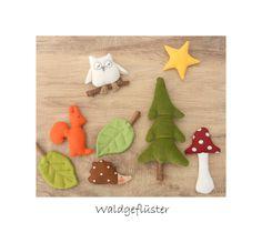 Deko-Objekte - Hängedeko Waldtiere, Baum, Eule, Igel, Laub, Pilz - ein Designerstück von uggla-deko bei DaWanda