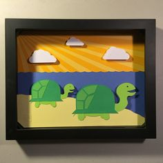 3D Diorama Turtle Adult and Child by POWpaper on Etsy