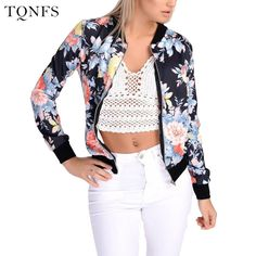 TQNFS Fashion Autumn Basic Bomber Jacket women Floral Slim Casual Business Jacket  Women Coat Top Outwear 1313a38e2a60