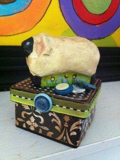 Folk Art Sheep Mixed media trinket box by MulfordCottage on Etsy