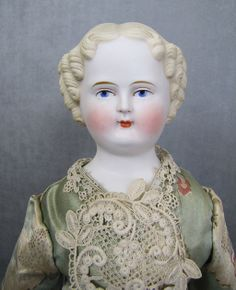 Parian Lady Doll Blonde Hair Cloth Body Great Hands