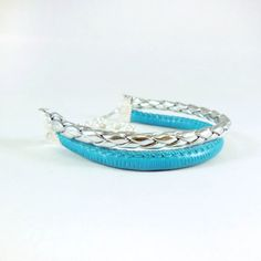 silver turquoise bracelet leather strap cuff rope plain by dunord